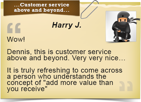Customer Service above and beyond...